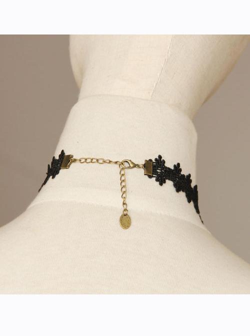 Water Drop-shaped Pendant Black Lace Gothic Lolita Necklace
