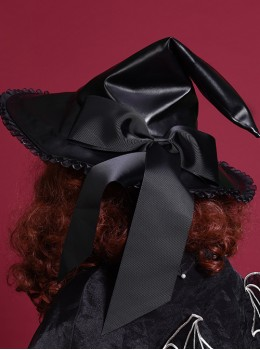 Halloween Black PU Leather Gothic Lolita Witch Hat
