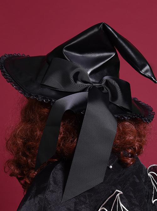 Halloween Black PU Leather Gothic Lolita Witch Hat