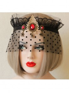 Retro Black Tulle Red Gemstone Imperial Crown Gothic Veil