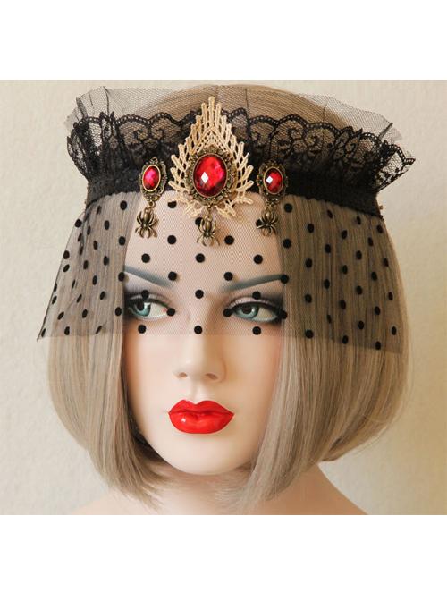 Retro Black Tulle Red Gemstone Imperial Crown Gothic Veil