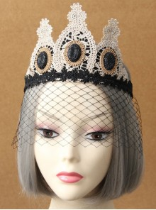 Baroque Style Golden Lace Crown Lolita Black Veil