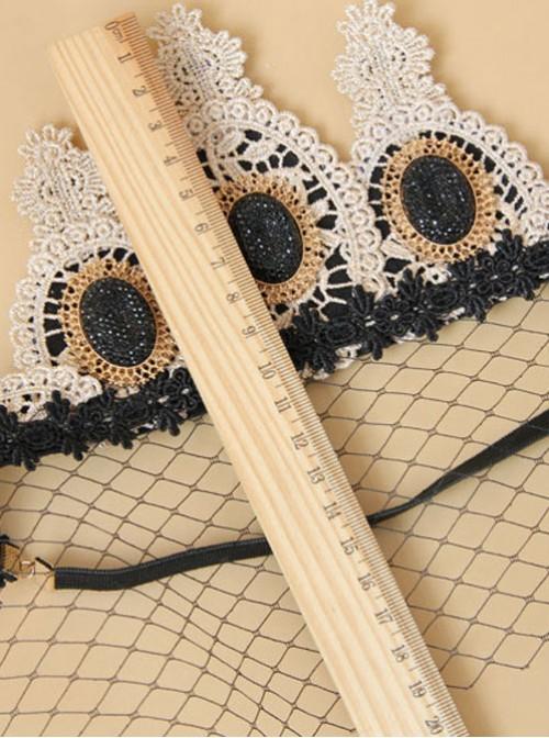 Baroque Style Golden Lace Crown Lolita Black Veil