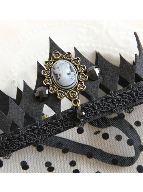 Black Crown Hollow Out Lace Gothic Lolita Veil
