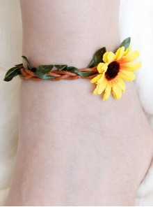 Emulation Rattan Sunflower Lolita Anklet