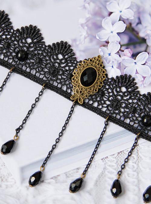 Retro Black Lace Chain Tassel Gothic Anklet