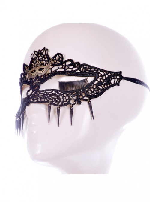 Sexy Black Lace Hollow Out Pendant The Cat Face Half Face Mask