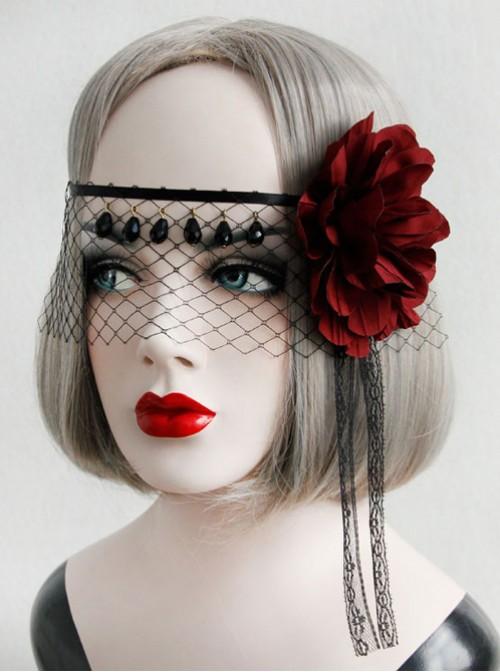 Red Flower Black Lace Veil Half Face Gothic Lolita Mask