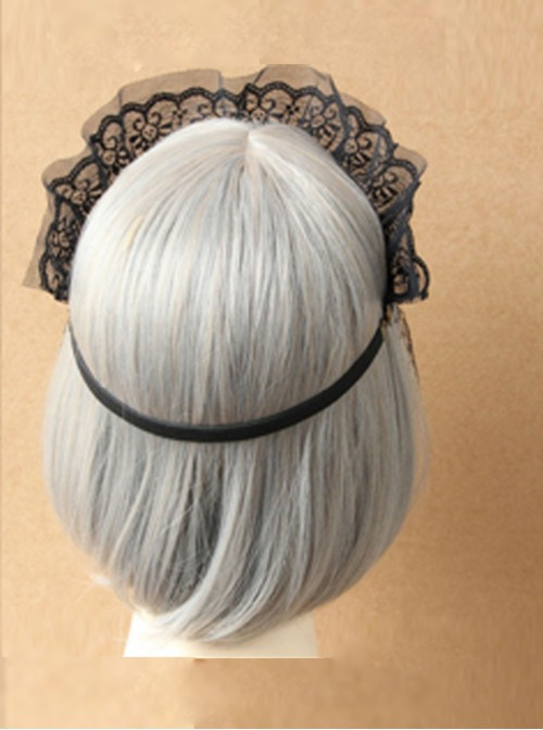 Black Lace Imperial Crown Veil Half Face Gothic Lolita Mask