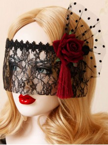 Red Flower Red Tassel Black Lace Veil Half Face Gothic Lolita Mask
