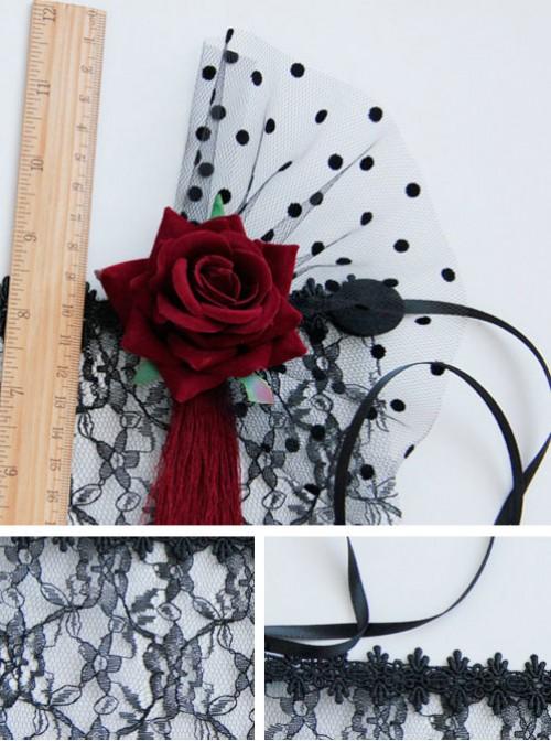 Red Flower Red Tassel Black Lace Veil Half Face Gothic Lolita Mask