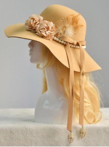 Vintage Elegance Imitation Cashmere Pearl Feather Women' Classic Lolita Hat
