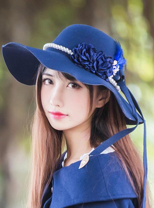 Vintage Elegance Imitation Cashmere Pearl Feather Women' Classic Lolita Hat