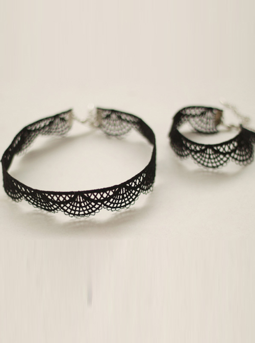 Concise Lace Classic Lolita Necklace And Bracelet Set