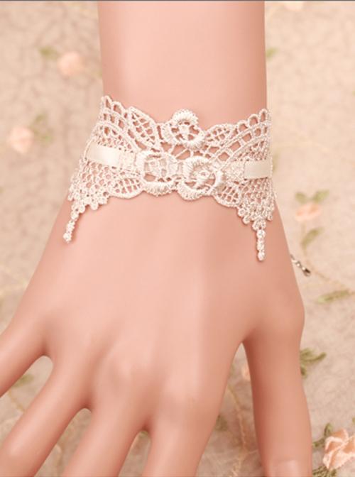 Elegance Retro White Lace Gothic Lolita Bracelet