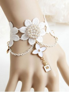 White Lace Pearls Bridesmaid And Bride Classic Lolita Bracelet