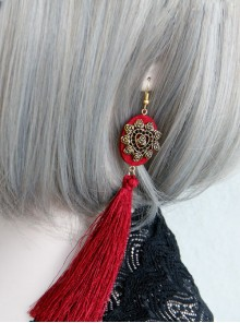 Retro Red Long Tassels Earrings
