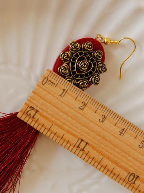 Retro Red Long Tassels Earrings
