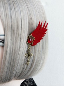 Retro Cross Pendant Gothic Lolita Elf Ear Clip