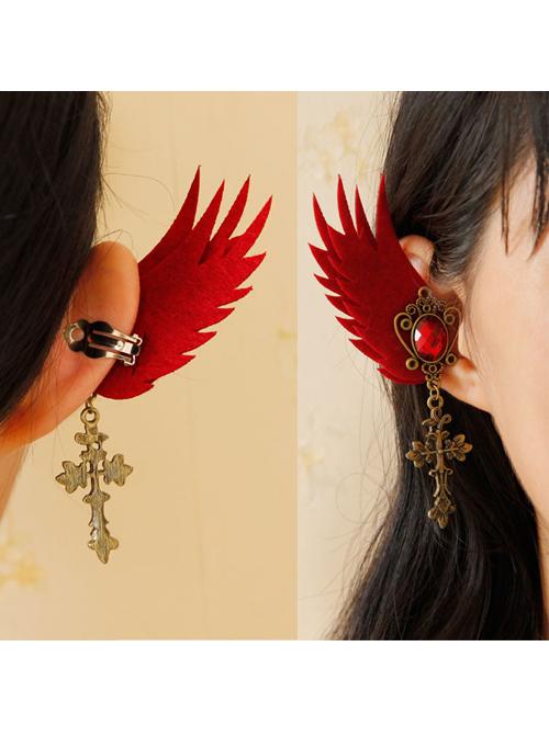 Retro Cross Pendant Gothic Lolita Elf Ear Clip