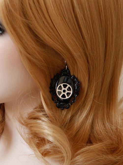 Steampunk Black Mechanical Gear Wheel Pendant Lolita Earrings