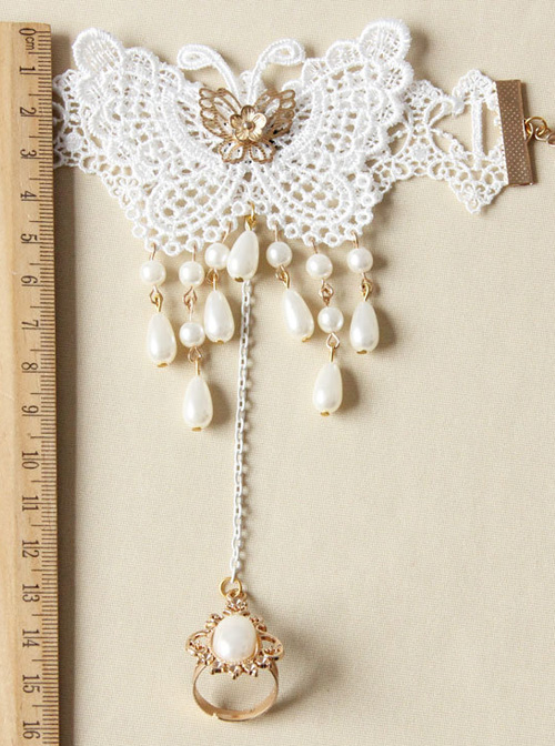Retro Lace Butterfly Pearl Classic Lolita Bracelet And Finger Ring Set