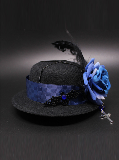 Crucifix Rose Feather Gothic Lolita Small Hat