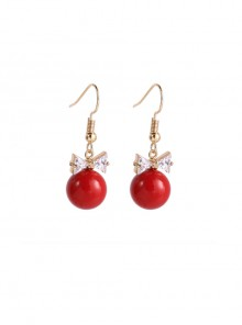 Delicate Minimalist Crown Red Pearl Earrings