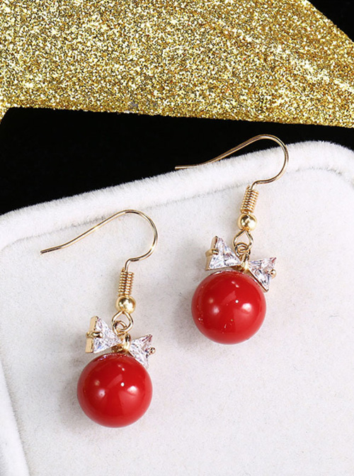 Delicate Minimalist Bowknot Red Pearl Earrings