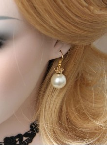 Delicate Minimalist Crown White Pearl Earrings