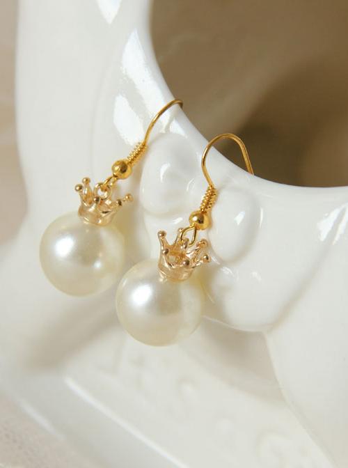 Delicate Minimalist Crown White Pearl Earrings