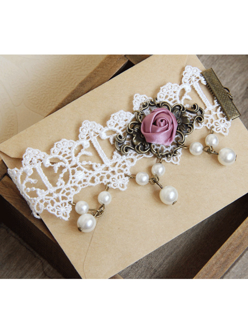 White Lace Rose Classic Lolita Pink-purple Anklet