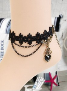 Black Lace Heart-shaped Pendant Gothic Lolita Ankle Belt