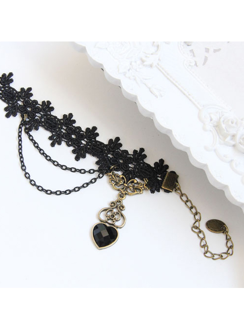 Black Lace Heart-shaped Pendant Gothic Lolita Ankle Belt