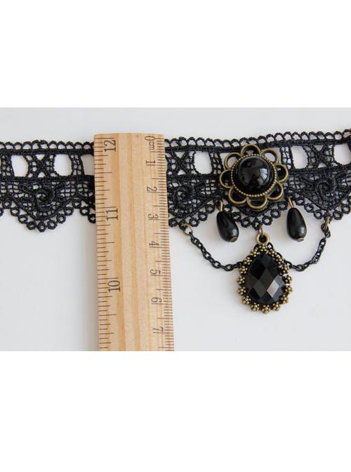 Retro Black Lace Concise Pendant Gothic Lolita Anklet