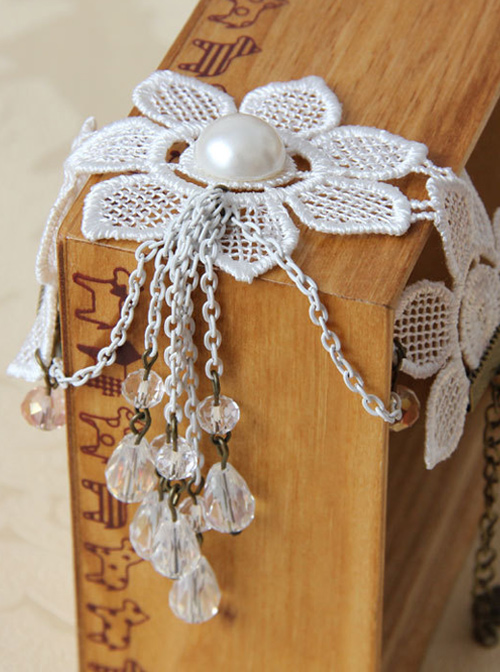 White Pearl Lace Bride Wedding Crystal Pendant Lolita Bracelet