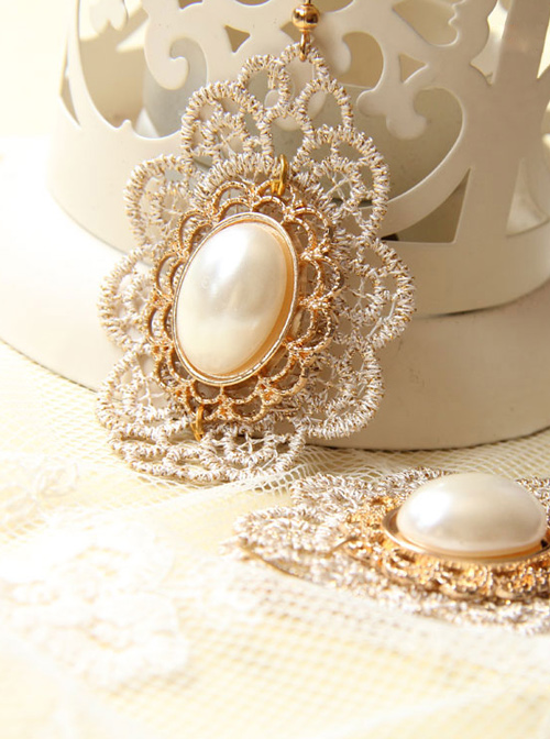 Baroque Palace Style Vintage Pearl Lace Earrings