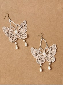 Baroque Palace Style Lace Pearls Butterfly Lolita Earrings