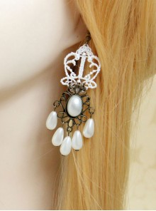 White Lace Pearl Bridal Classic Lolita Earrings
