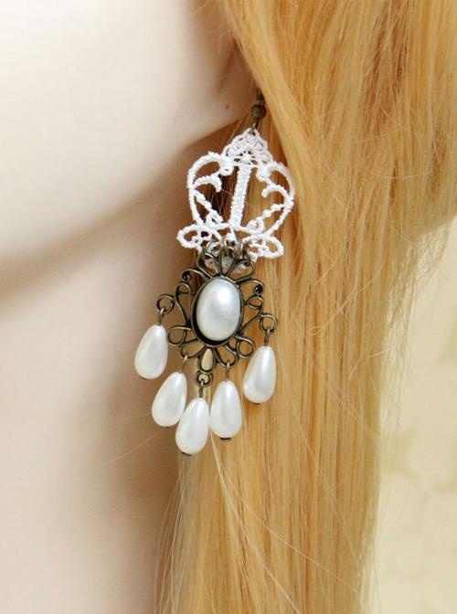 White Lace Pearl Bridal Classic Lolita Earrings