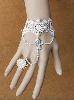 Retro Palace Style White Lace Crucifix Pendant Lolita Bracelet And Ring Set