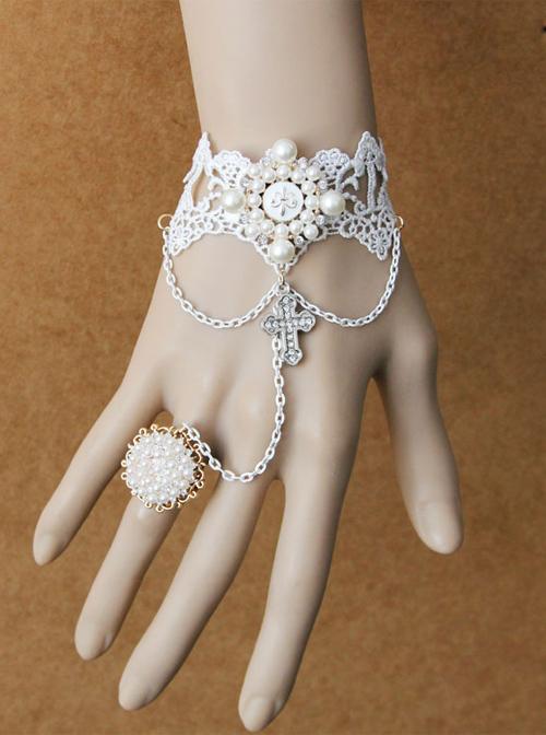 Retro Palace Style White Lace Crucifix Pendant Lolita Bracelet And Ring Set