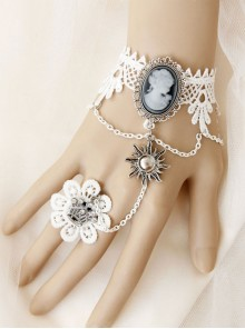 Baroque Style Retro Wedding White Lace Lolita Bracelet And Ring Set