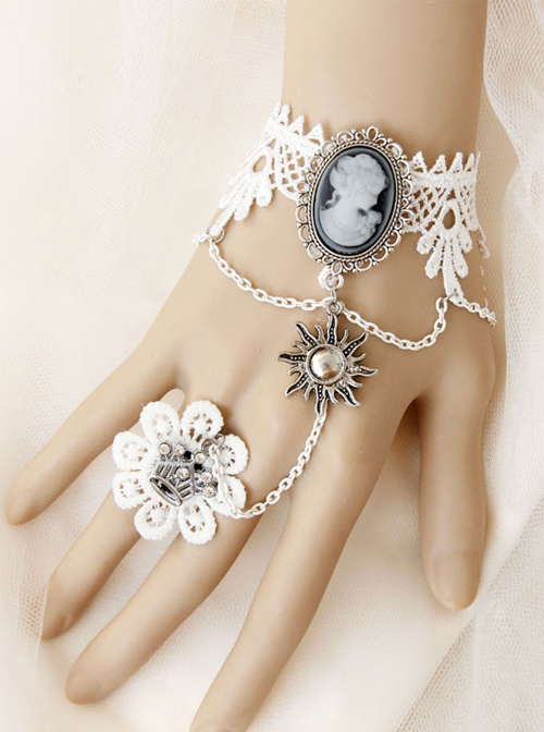 Baroque Style Retro Wedding White Lace Lolita Bracelet And Ring Set