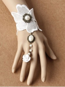 Elegance White Lace Wedding Lolita Bracelet And Ring Set
