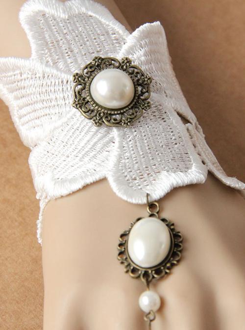 Elegance White Lace Wedding Lolita Bracelet And Ring Set