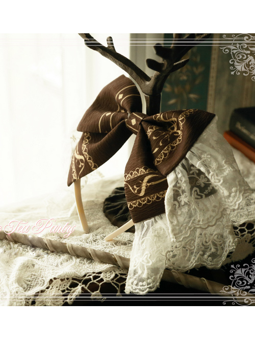 Magic Tea Party Western Style Dress Workshop Series Printing Bowknot Lace Head Band