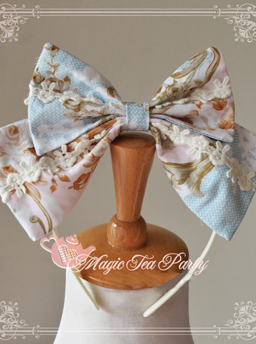 Magic Tea Party Veronica Series Light Blue Elegance Printing Lolita Head Hoop