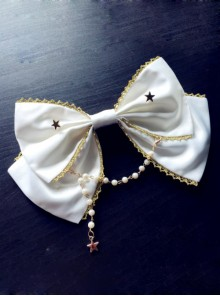 Rice-white Bead Chain Classic Lolita Bowknot Tie