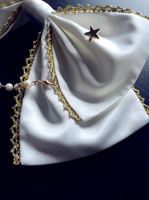 Rice-white Bead Chain Classic Lolita Bowknot Tie
